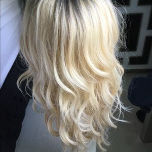Blonde dark roots synthetic wig